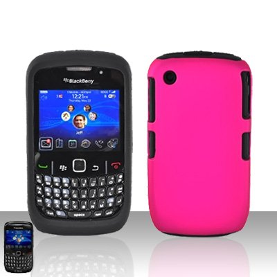 Blackberry Curve 8520 8530 Pink Double Protector Cover Case Silicone + Hard Snap on