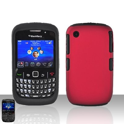 Blackberry Curve 8520 8530 Red Double Protector Cover Case Silicone + Hard Snap on