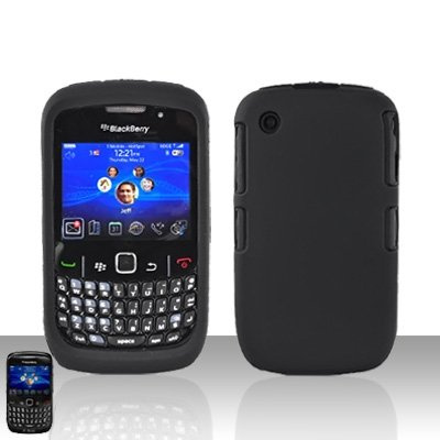 Blackberry Curve 8520 8530 Black Double Protector Cover Case Silicone + Hard Snap on