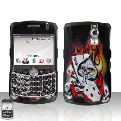 Blackberry Curve 8330 8300 Ace Skull Flames Design Hard Snap on Case Cover