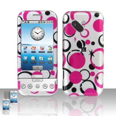 HTC Google G1 Android Pink Dots Cover Case Snap on Protector