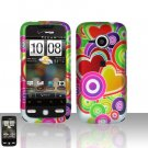 HTC Droid Eris S6200 Colorful Hearts Case Cover Snap on Protector