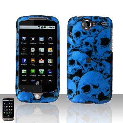 HTC Google Nexus One Blue Skull Case Cover Snap on Protector