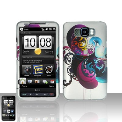 HTC Leo HD2 Purple Swirl Case Cover Snap on Protector