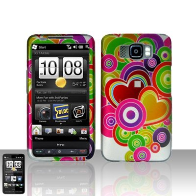 HTC Leo HD2 Colorful Hearts Case Cover Snap on Protector