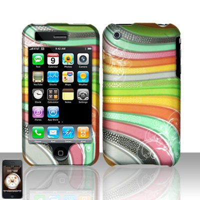 Rainbow Stripes Cover Case Hard Snap on Protector for Apple iPhone 3G iPhone 3GS