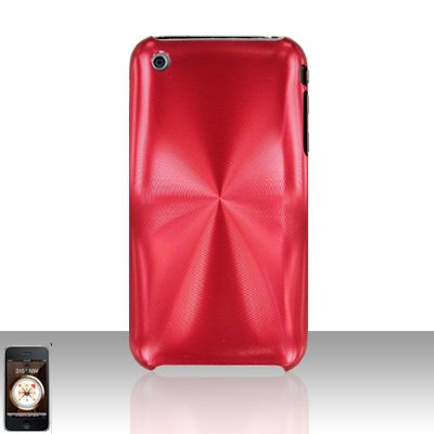 Aluminum Red Back Cover Case Hard Protector for Apple iPhone 3G 3GS