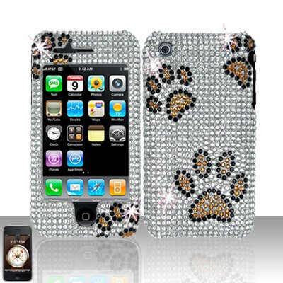 Paws Full Diamond Cover Case Hard Snap on Protector for Apple iPhone 3G 3GS