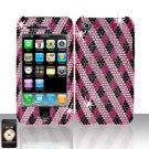 Pink Checkered Full Diamond Cover Case Hard Snap on Protector for Apple iPhone 3G 3GS