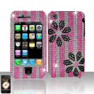 Flowers Design Full Diamond Cover Case Hard Snap on Protector for Apple iPhone 3G 3GS