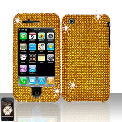 Gold Full Diamond Cover Case Hard Snap on Protector for Apple iPhone 3G 3GS