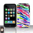 Rainbow Zebra Silicon + Hard Cover Case Snap on Protector for Apple iPhone 3G 3GS