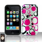 Pink Dots Silicon + Hard Cover Case Snap on Protector for Apple iPhone 3G 3GS