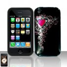 Heart Silicon + Hard Cover Case Snap on Protector for Apple iPhone 3G 3GS