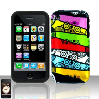 Colorful Stripes Silicon + Hard Cover Case Snap on Protector for Apple iPhone 3G 3GS