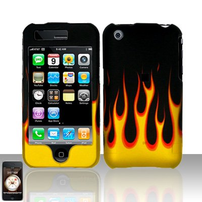Flames Cover Case Hard Snap on Protector for Apple iPhone 3G 3GS