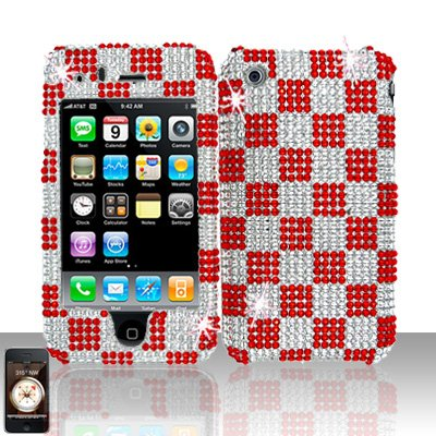 Red Checkered Full Diamond Cover Case Hard Snap on Protector for Apple iPhone 3G 3GS