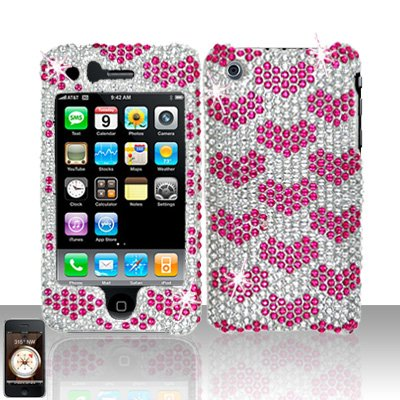 Pink Hearts Design Full Diamond Cover Case Hard Snap on Protector for Apple iPhone 3G 3GS