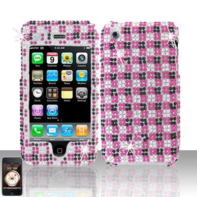 Pink Black Squares Full Diamond Cover Case Hard Snap on Protector for Apple iPhone 3G 3GS