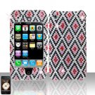 Pink Black Full Diamond Cover Case Hard Snap on Protector for Apple iPhone 3G 3GS
