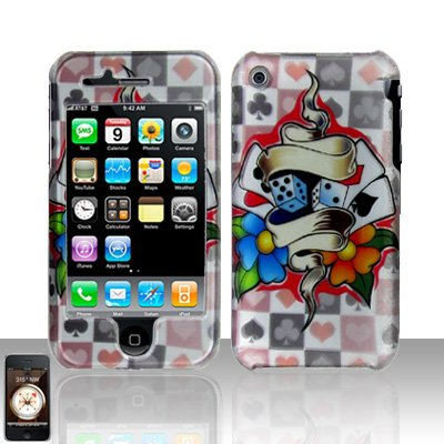 Dice Cards Design Cover Case Hard Snap on Protector for Apple iPhone 3G 3GS