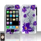 Purple Flowers Cover Case Hard Snap on Protector for Apple iPhone 3G 3GS
