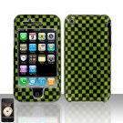 Green Checkered Cover Case Hard Snap on Protector for Apple iPhone 3G 3GS