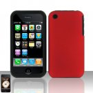 Red Silicon + Hard Cover Case Snap on Protector for Apple iPhone 3G 3GS