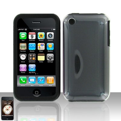 Clear Silicon + Hard Cover Case Snap on Protector for Apple iPhone 3G 3GS