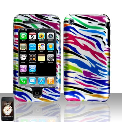 Rainbow Zebra Cover Case Hard Snap on for Apple iPhone 3G 3GS