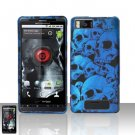 Motorola Droid X MB810 Blue Skulls Case Cover Snap on Protector