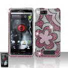 Motorola Droid X MB810 Flower Full Diamond Case Cover Snap on Protector