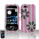 Black Flowers Design Diamond Hard Snap On Case Cover for Motorola i1