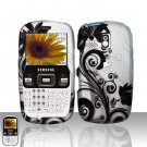 Black Flower Snap On Hard Cover Case for Samsung Freeform R350 R351