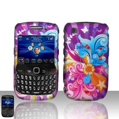Blackberry Curve 8520 8530 Purple Design Cover Case Snap on Protector