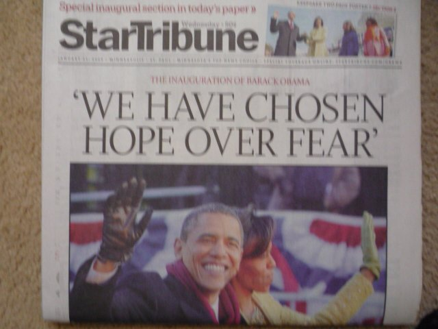 Minneapolis Star Tribune Obama Inauguration newspaper