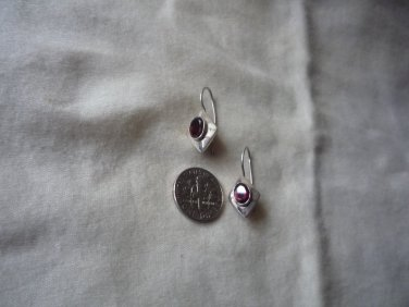Garnet 925 sterling fish hook dangle earrings