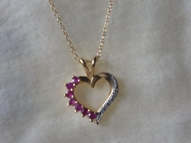 Heart pendant and necklace gold over 925 silver pink stones