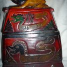 Indonesian hand carved wood box purse