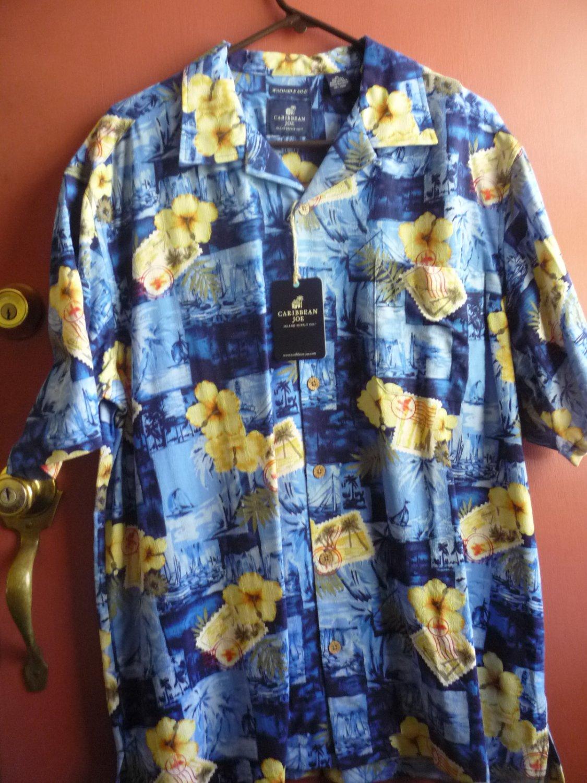 Caribbean Joe men's silk shirt XL