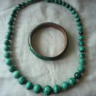 Vintage Malachite bead necklace and bracelet