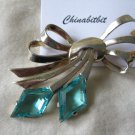 Vintage Marcel Boucher sterling bow pin brooch blue rhinestones