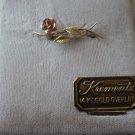 Vintage Krementz 14kt gold overlay rose pin brooch
