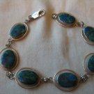 Womens Silver 925 bracelet blue green stones