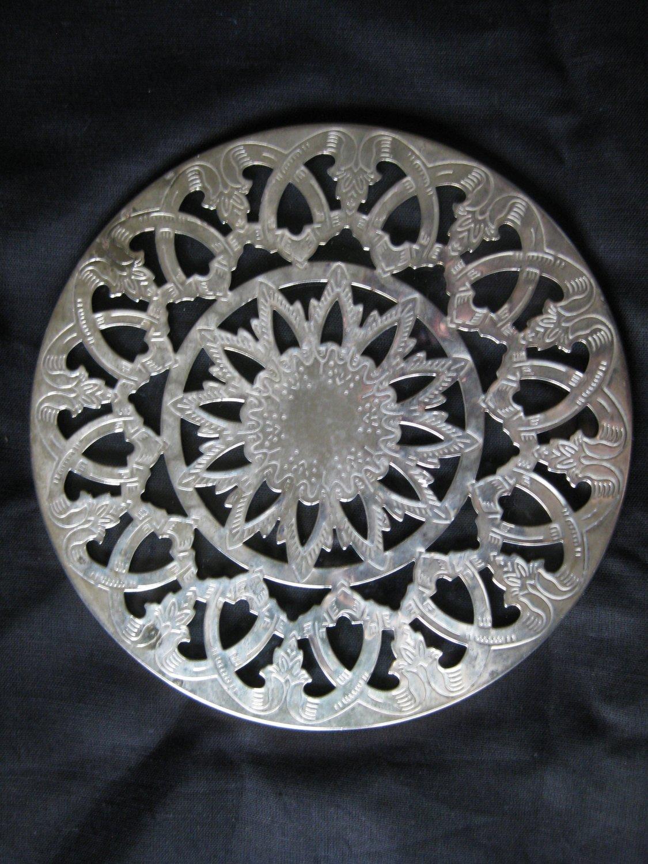 Leonard Silver Plate 6� Glass Trivet Hong Kong
