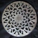 """Leonard Silver Plate 6"""" Glass Trivet Hong Kong"""