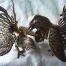 Vintage Brass Roosters Figurines (2)