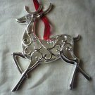 Lenox Sparkle and Scroll  Clear-Crystal Reindeer Ornament Silverplate