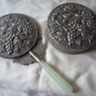 Vintage Chinese Jade hand mirror and trinket box butterflies and grapevines