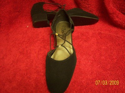 """HIGHLIGHTS black strappy 1.5"""" low heel shoes 7.5 ~ NEW"""